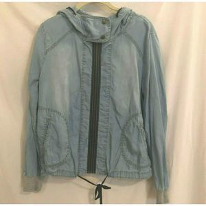 Life in Progress Chambray Jacket Hooded Zip Front